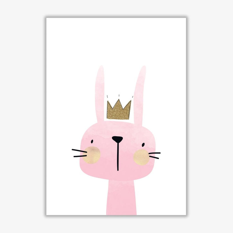 Scandi bunny watercolour modern fine art print, framed childrens nursey wall art poster