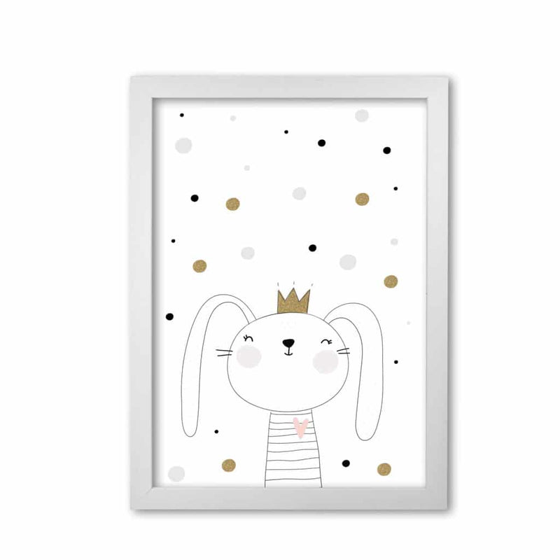 Scandi cute bunny with crown and polka dots modern fine art print, framed childrens nursey wall art poster