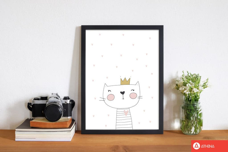 Scandi cute cat with crown and stars modern fine art print, framed childrens nursey wall art poster