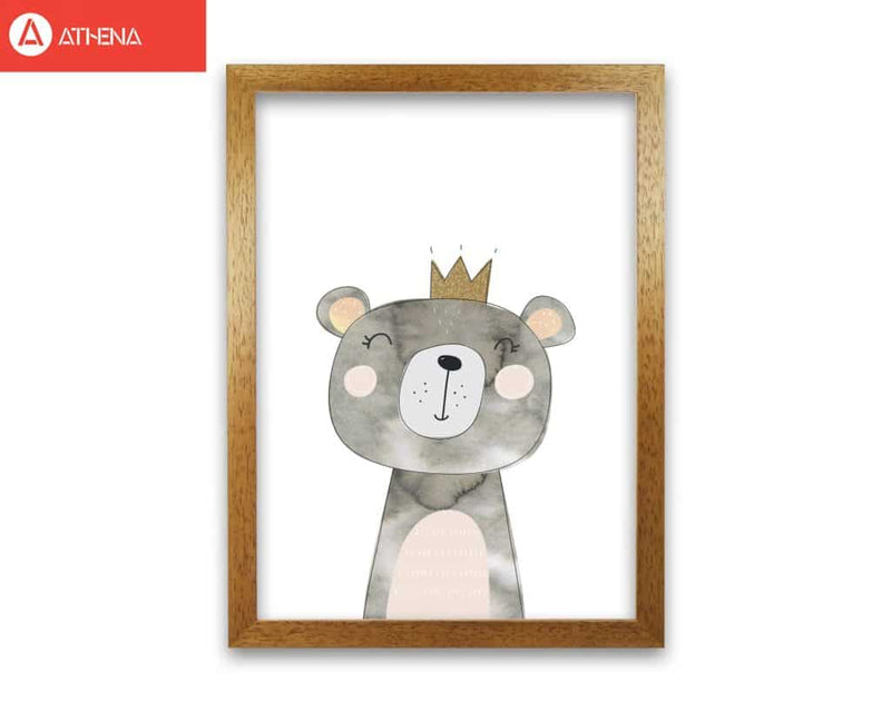 Scandi grey bear watercolour modern fine art print, framed childrens nursey wall art poster