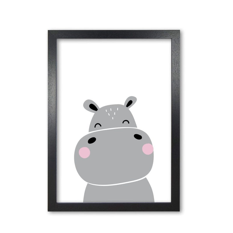 Scandi hippo modern fine art print, framed childrens nursey wall art poster