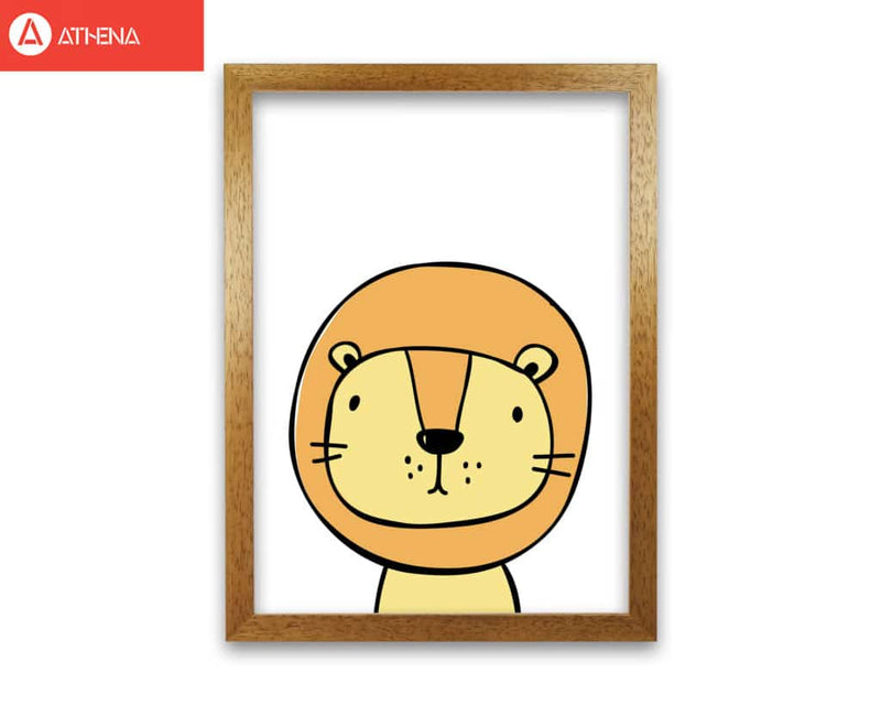 Scandi lion modern fine art print, framed childrens nursey wall art poster