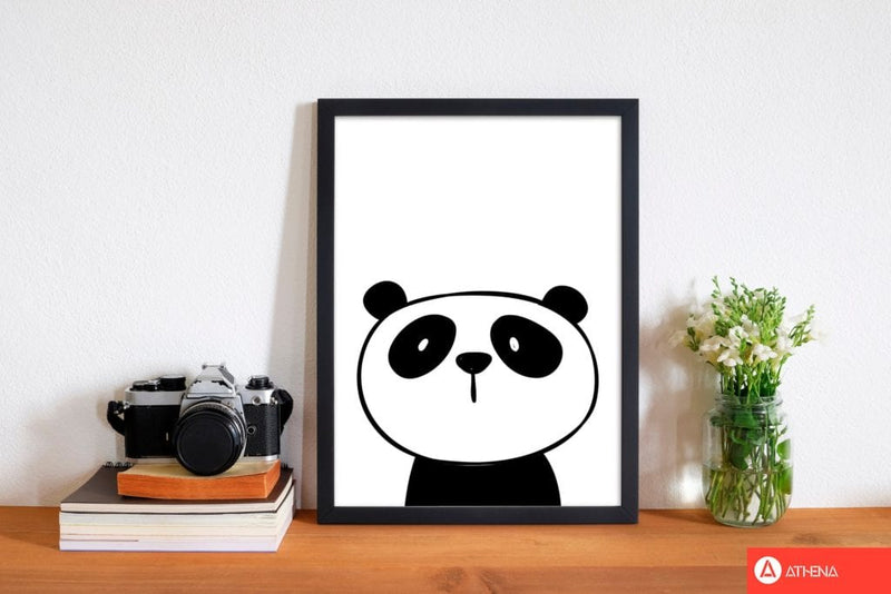 Scandi panda modern fine art print, framed childrens nursey wall art poster