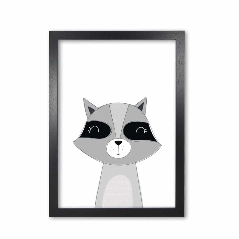 Scandi raccoon modern fine art print, framed childrens nursey wall art poster