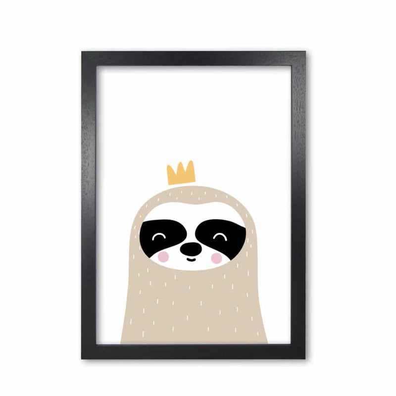 Scandi sloth with crown modern fine art print, framed childrens nursey wall art poster
