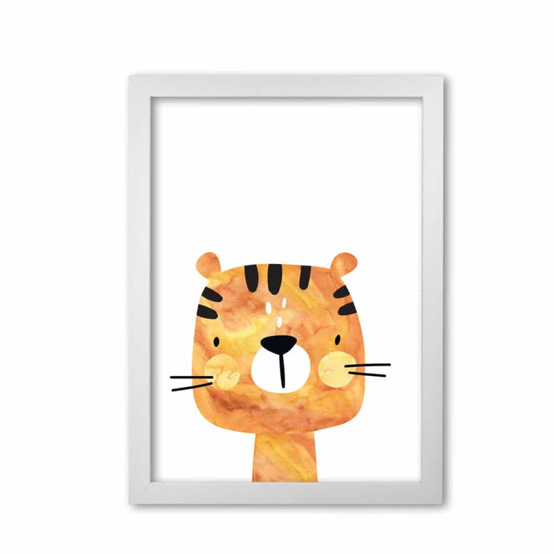 Scandi tiger watercolour modern fine art print, framed childrens nursey wall art poster