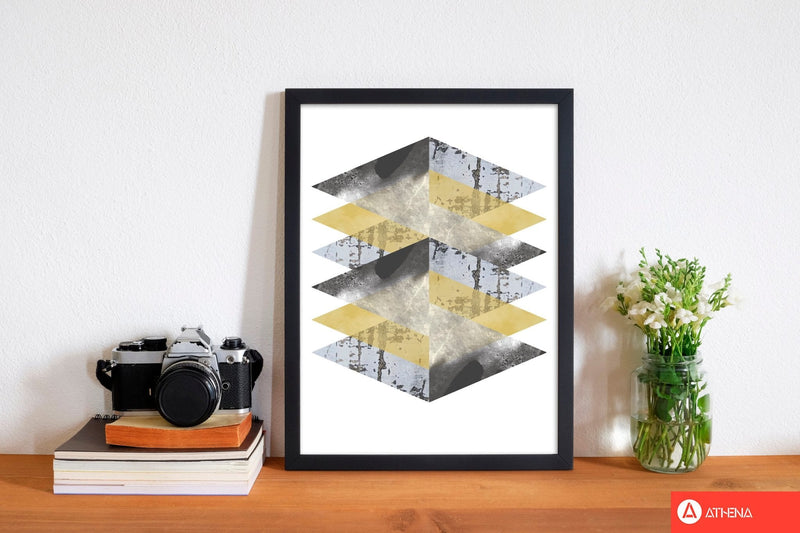 Scuff, yellow and grey abstract triangles modern fine art print