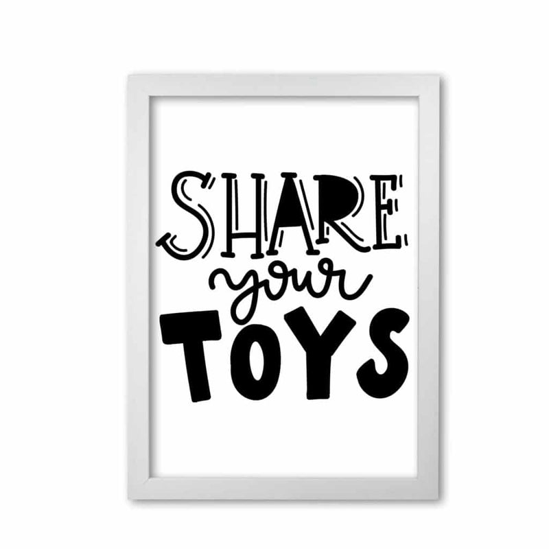 Share your toys modern fine art print, framed childrens nursey wall art poster