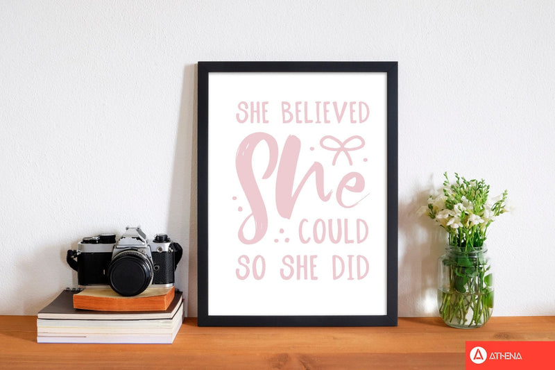 She believed she could so she did baby pink modern fine art print