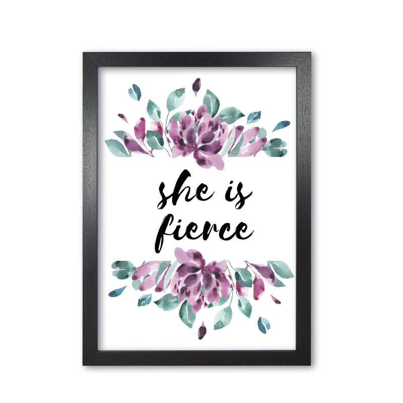 She is fierce purple floral modern fine art print