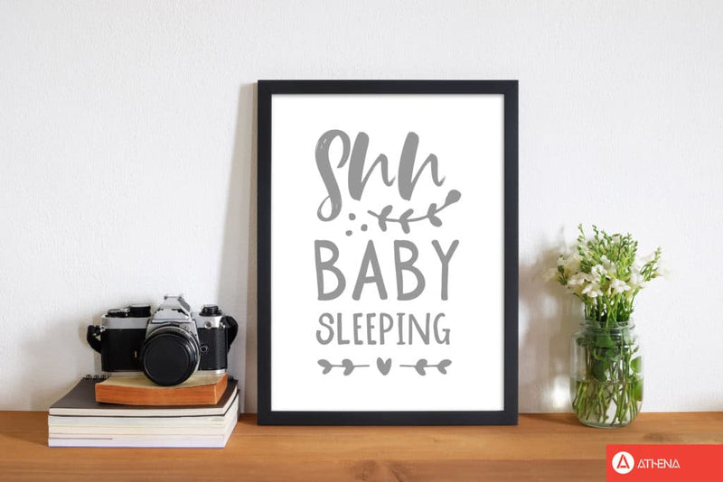 Shh baby sleeping grey modern fine art print, framed childrens nursey wall art poster