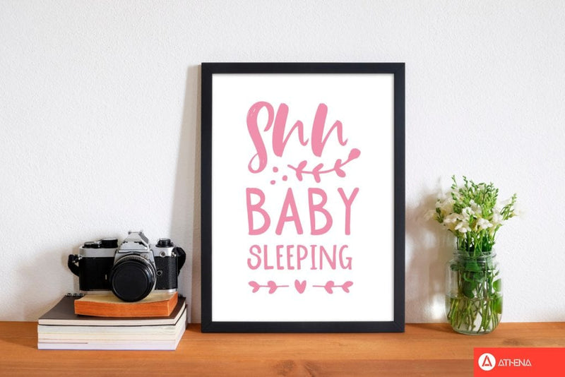 Shh baby sleeping pink modern fine art print, framed childrens nursey wall art poster