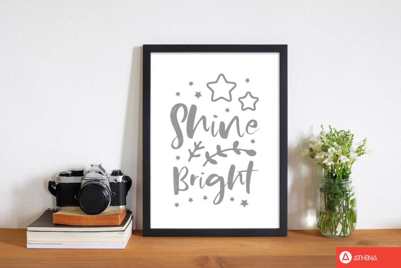 Shine bright grey modern fine art print, framed childrens nursey wall art poster