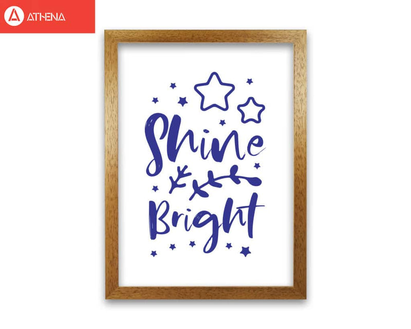 Shine bright navy modern fine art print, framed childrens nursey wall art poster