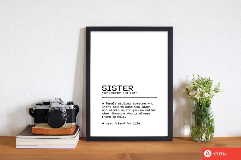 Sister best friend definition quote fine art print by orara studio