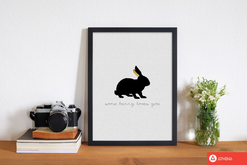 Some bunny loves you animal quote fine art print by orara studio