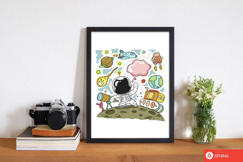 Space illustration modern fine art print, framed childrens nursey wall art poster