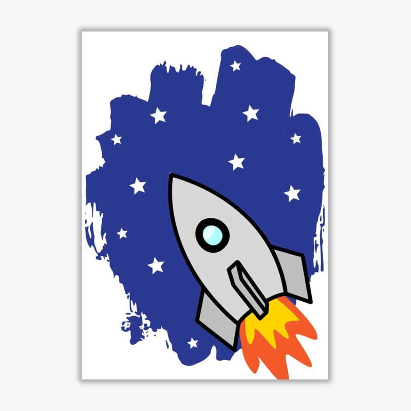 Space rocket modern fine art print, framed childrens nursey wall art poster