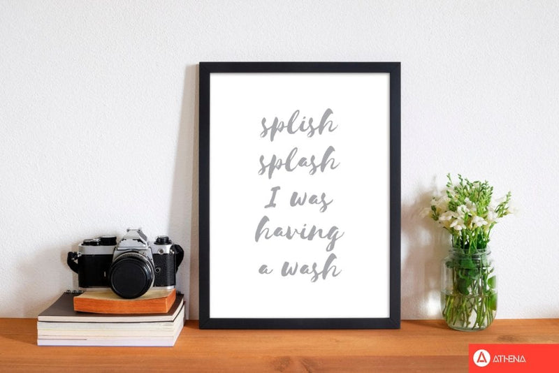Splish splash grey, bathroom modern fine art print, framed bathroom wall art
