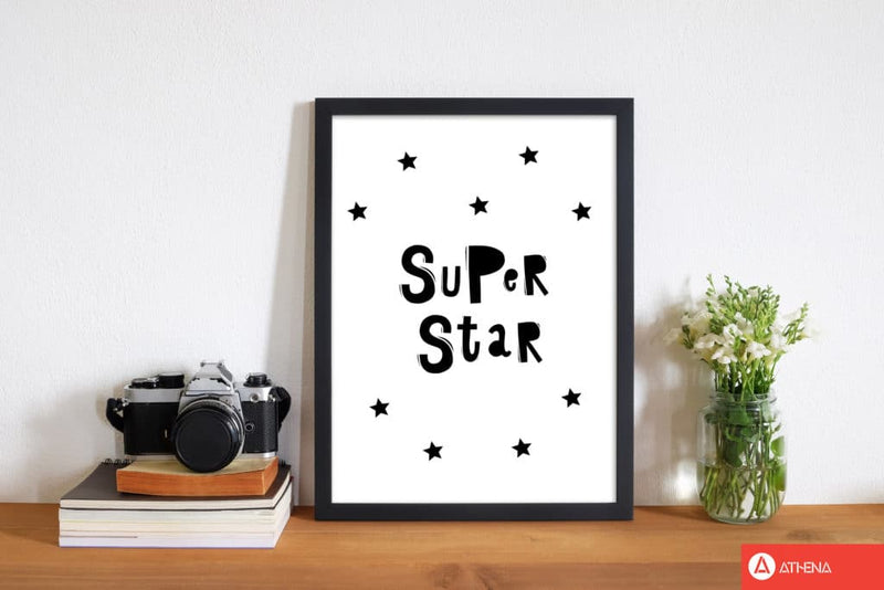 Super star scandi modern fine art print, framed childrens nursey wall art poster