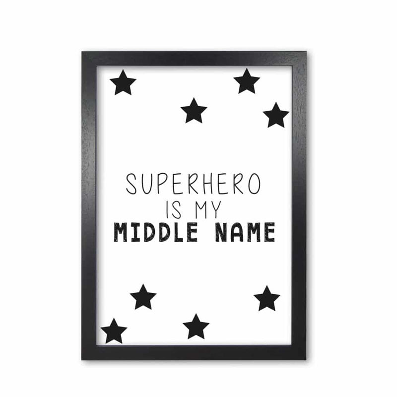 Superhero is my middle name modern fine art print, framed childrens nursey wall art poster