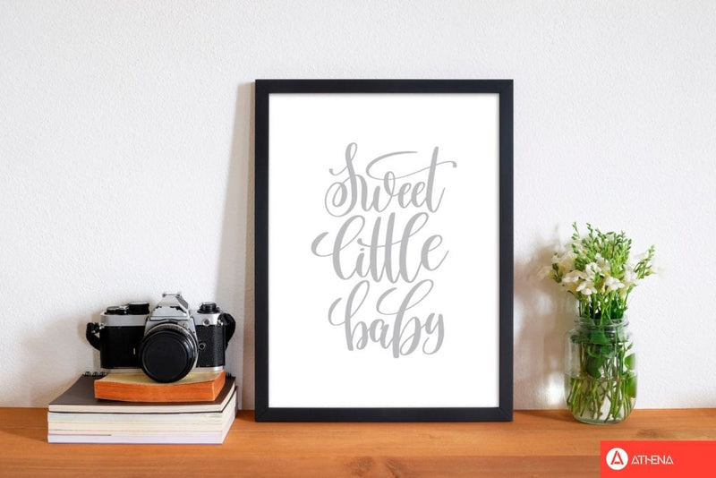 Sweet little baby grey modern fine art print, framed childrens nursey wall art poster