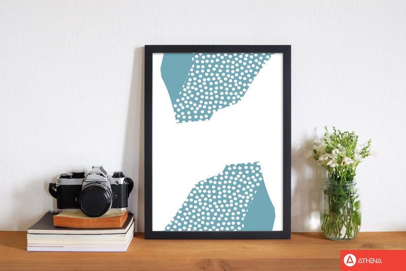 Teal abstract mountain polka modern fine art print