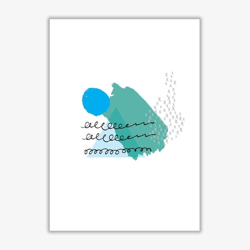 Teal and blue mountain sun abstract modern fine art print