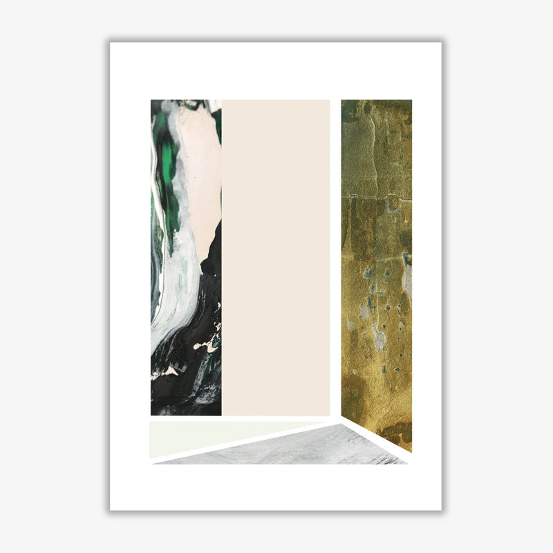 Textured peach, green and grey abstract rectangle shapes modern fine art print