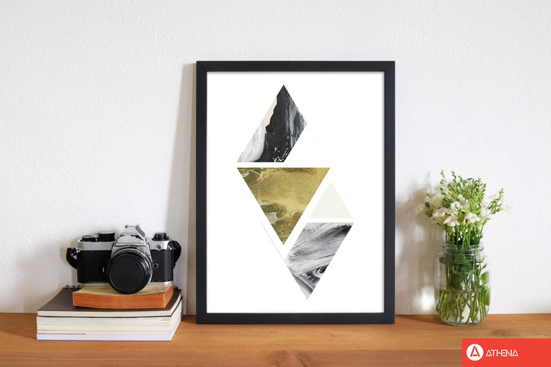 Textured peach, green and grey abstract triangles modern fine art print