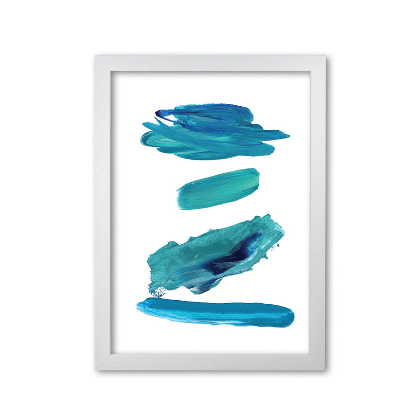 Turquoise abstract paint strokes modern fine art print