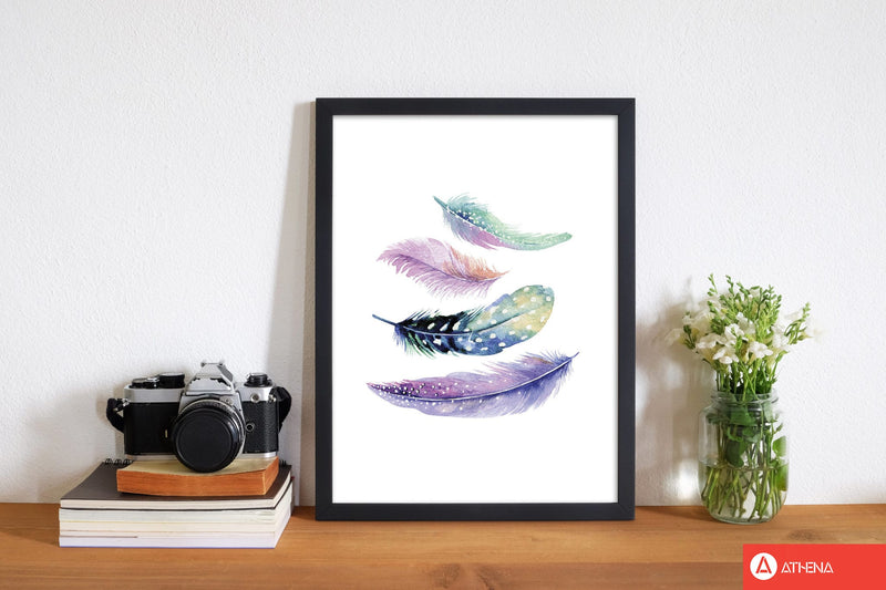 Turquoise and purple bird feathers abstract modern fine art print