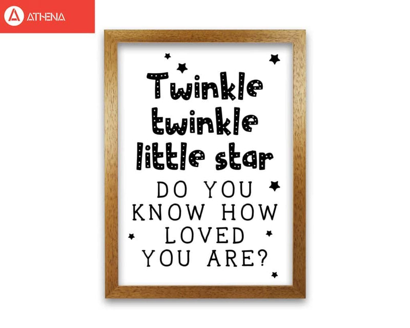 Twinkle twinkle little star black modern fine art print, framed childrens nursey wall art poster