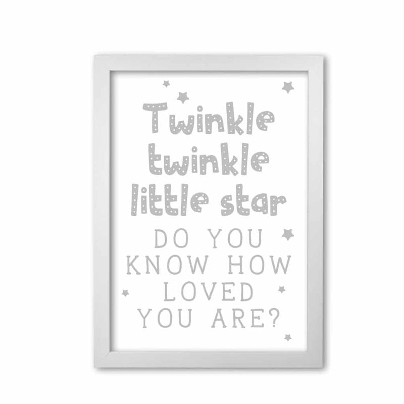 Twinkle twinkle little star grey modern fine art print, framed childrens nursey wall art poster