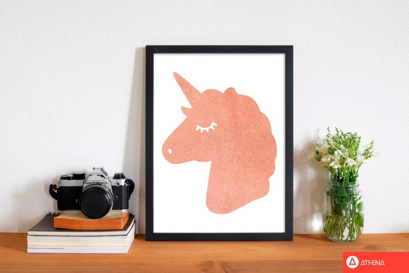 Unicorn peach silhouette watercolour modern fine art print