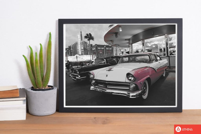 Vintage pink and white car modern fine art print