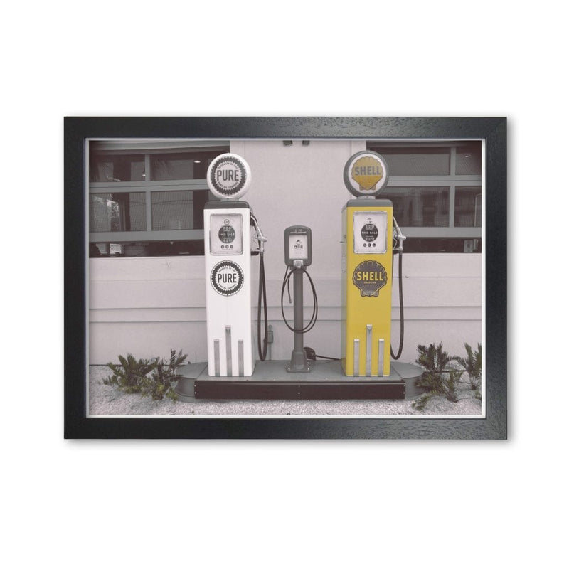 Vintage shell yellow gas pump modern fine art print