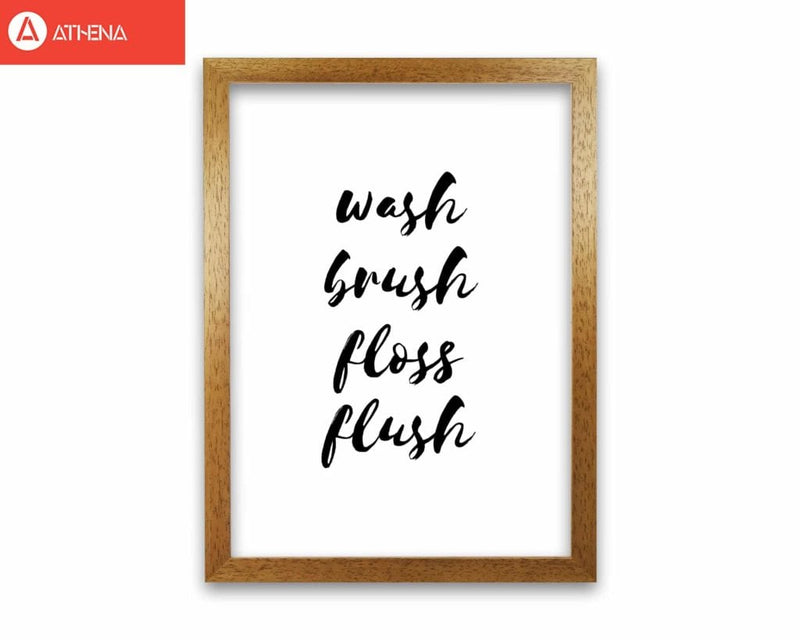 Wash brush floss flush, bathroom modern fine art print, framed bathroom wall art