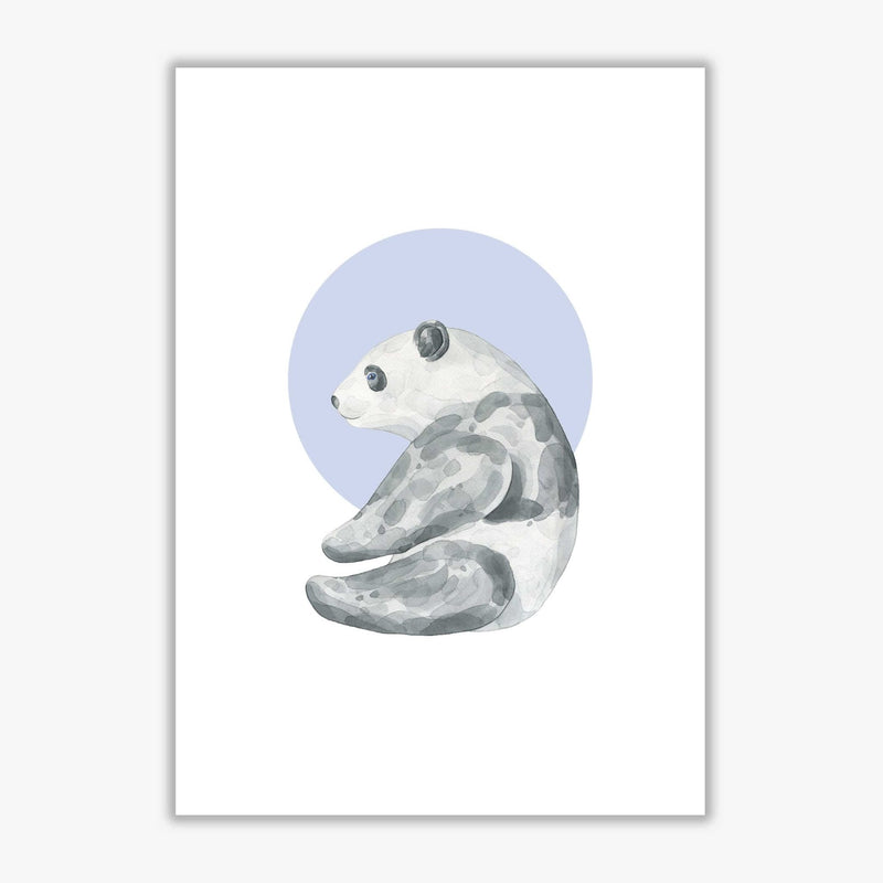 Watercolour panda with blue circle modern fine art print
