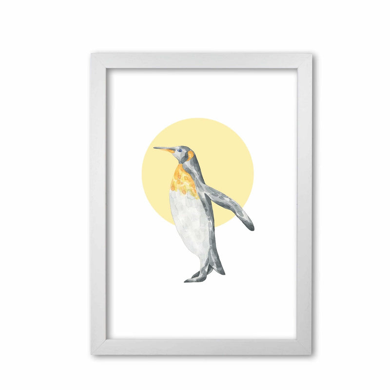 Watercolour penguin with yellow circle modern fine art print