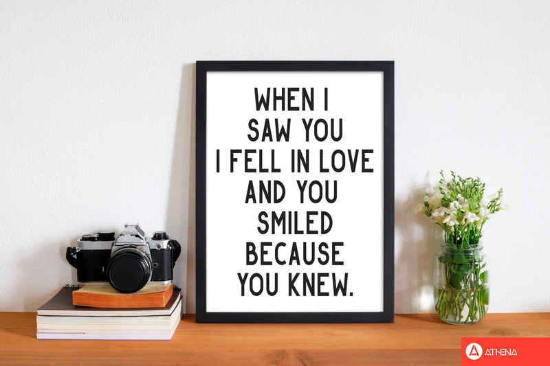 When i saw you i fell in love modern fine art print