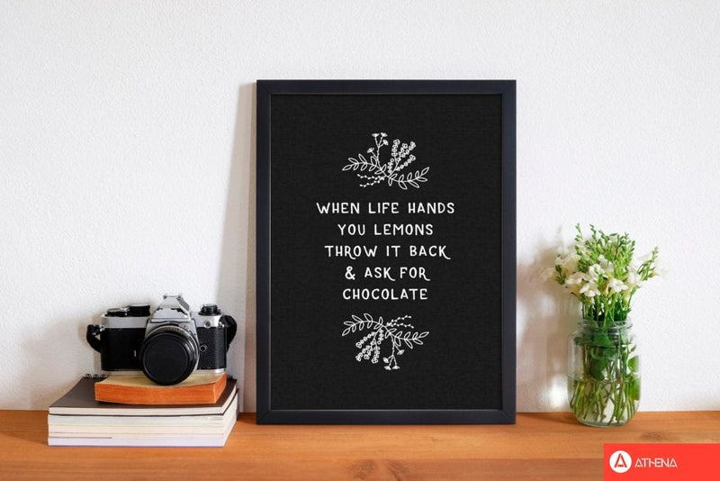 When life hands you lemons funny quote fine art print by orara studio, framed kitchen wall art