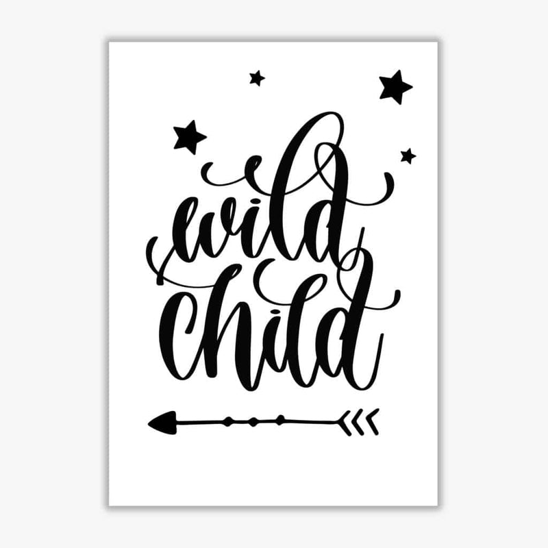 Wild child black modern fine art print, framed childrens nursey wall art poster