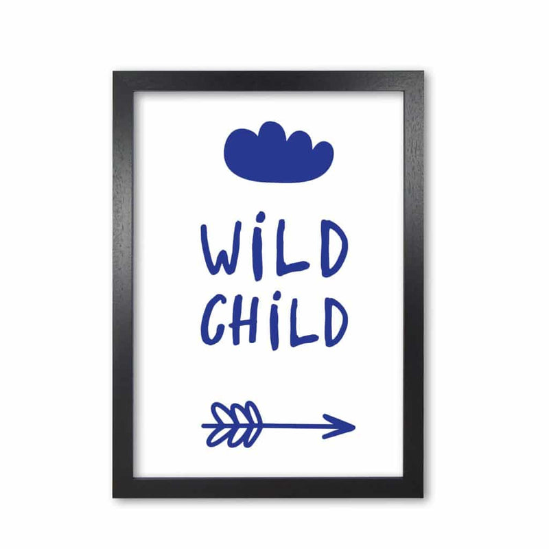 Wild child navy modern fine art print, framed childrens nursey wall art poster