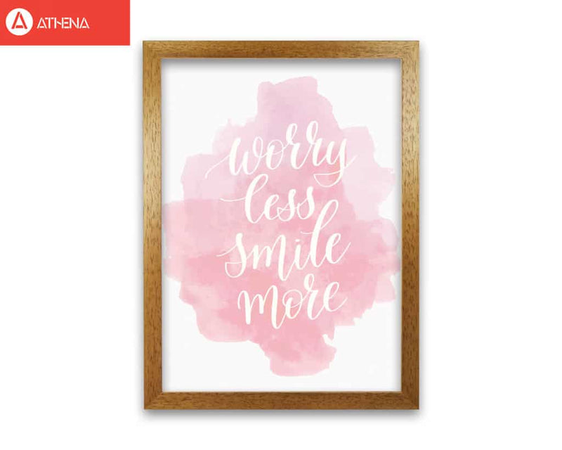 Worry less smile more pink watercolour modern fine art print
