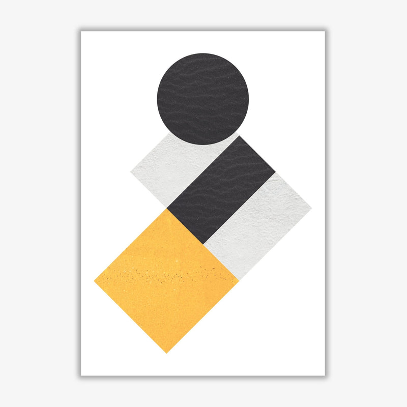 Yellow and black abstract circles and squares modern fine art print