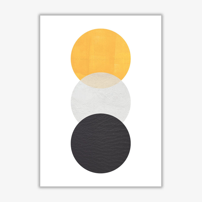Yellow and black abstract circles modern fine art print