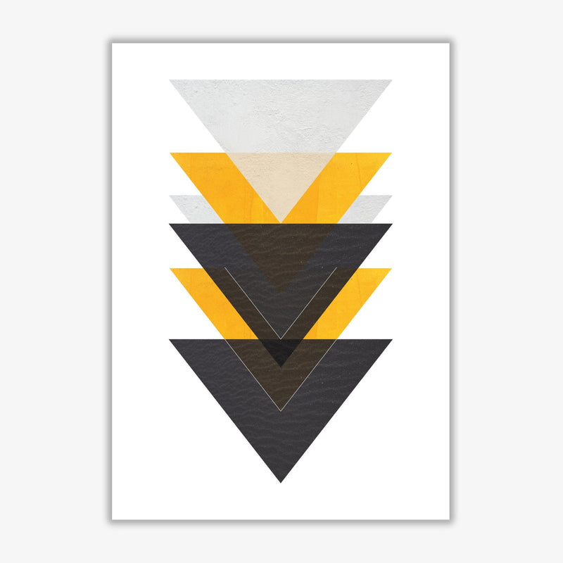 Yellow and black abstract triangles modern fine art print