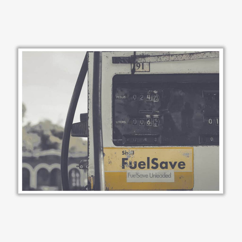 Yellow fuel save gas pump modern fine art print