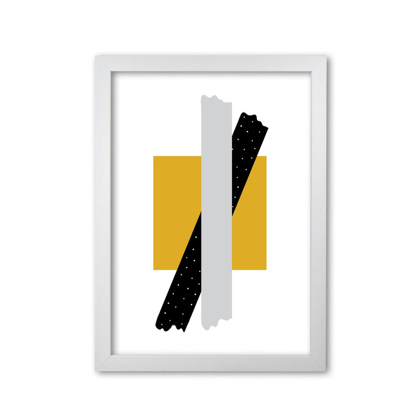 Yellow square with grey and black bow abstract modern fine art print